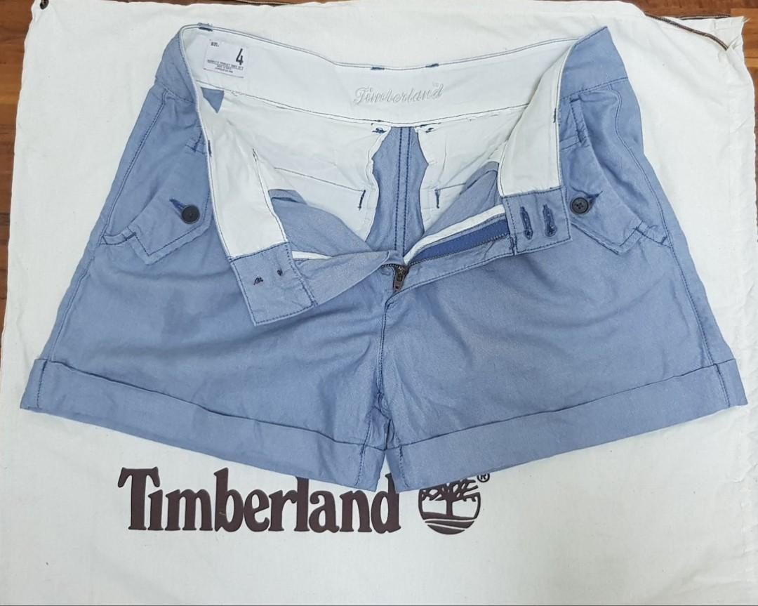 Timberland女生藍色反折造型短褲