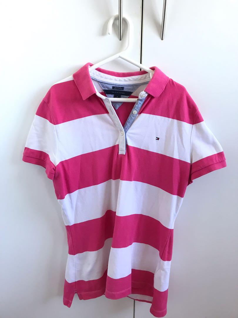 Tommy Hilfiger pink and white striped short sleeve polo shirt size medium