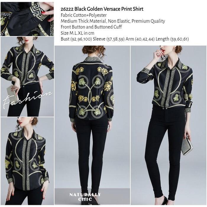 WST 26222 Black Golden Versace Print Shirt