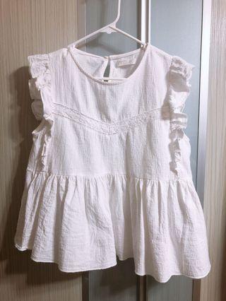 Brand New Ladies White Babydoll TOP (M)
