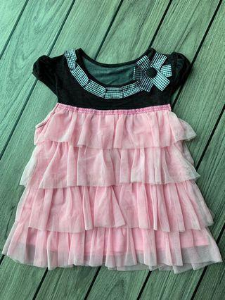 全新黑色(彈性棉質)/ 粉紅色紗上衣