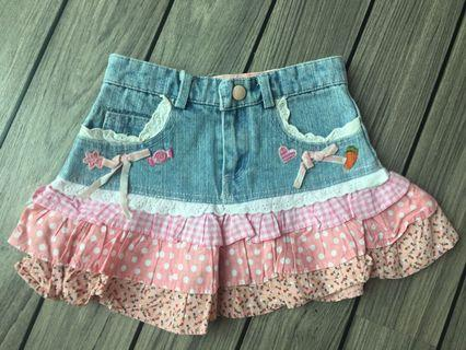 拼布牛仔短裙 Patchwork denim skirt
