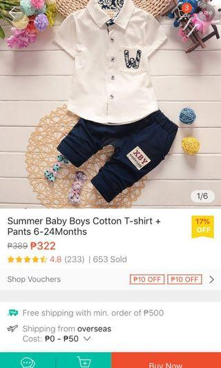 Summer Outfit for Boys Set Polo Shirt + Shorts Floral