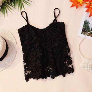 Black floral lace crotchet spag top