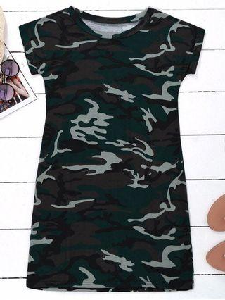 🚀CLEARANCE PRICE zaful camo tshirt dress
