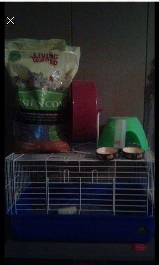 Hamster sized pet cage and accessories