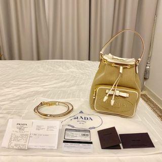 Brand New Authentic PRADA Small Zacquard Canvas Drawstring Bucket Bag