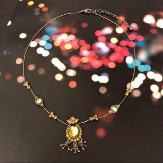 復古銅色黃晶頸鏈 頸鍊 項鍊 Vintage yellow crystal necklace