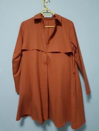 🚚 Burnt Orange Shirt Dress