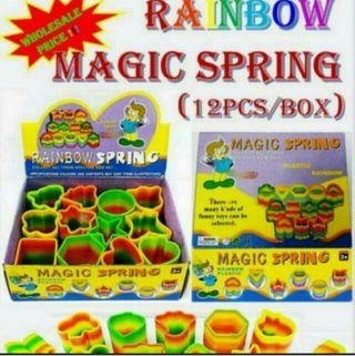 Kid toy magic spring 12 pcs/ per box...Great for kid    party gift or indidividual play toy  .   Retail selling $1.50 to $ 1.80 per pcs..   Now offer selling at $7  per box ( 12 pcs ) .   Fast deal price 3 box $ 20   ( while stock last )