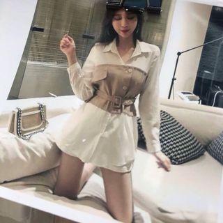🚚 韓系假兩件式馬甲襯衫中長版上衣-卡其F