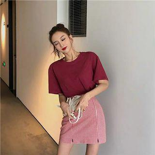 [PO] summer style top and checkered skirt set