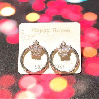 Silver earrings 純銀 閃石 皇冠 圈圈耳環 earring ✨