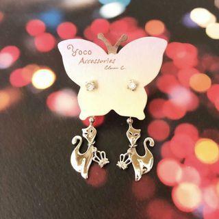 純銀 閃石水晶 ✨✨ 優雅貓 皇冠 👑 吊飾耳環 Silver crystal 💎 earrings with elegant cat & crown pendant 👑 / earring / bling bling