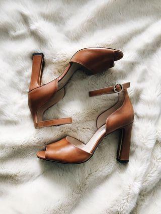 Massimo Dutti Leather Heeled Sandals