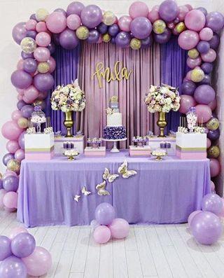 Coloured Fantasy Romantic Birthday Celebration Themed Party Set Up Dessert Table