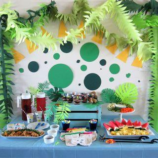 Time to be wild, Jungle Party Dinosaur Themed Party Dessert Table Set Up