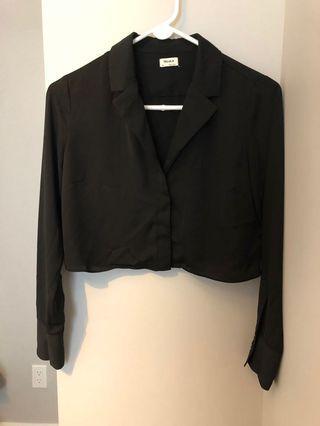 Talula Cropped Black Blouse (Size XS)