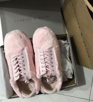 Charles & Keith 100% real pink fur sports shoes