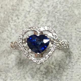 港工18k天然皇家藍寶石1.17克拉超美鑽石戒指