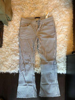 Zara cropped flare jeans size small blue and white striped