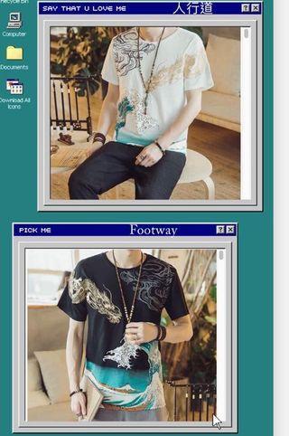🚚 [店面現貨秒發]中國風 刺繡 金龍 龍 日式 畫風 半袖T恤 短袖 寬鬆 dragon
