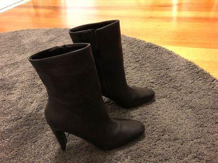 Black snake effect heeled boots