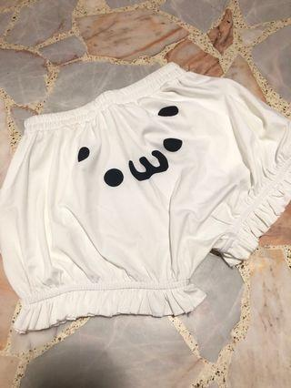 harajuku kawaii white cute face japanese emoticon pumpkin shorts