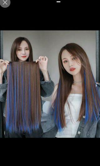 Instock light brown to blue two tone ombre gradient clip on straight hair extension  * brand new in package* chat to buy if int