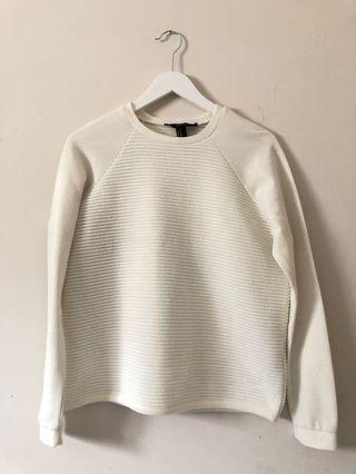 white ribbed sweater size m