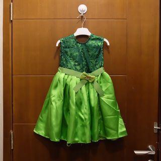 Gaun dress anak perempuan emerald green