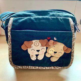Pet Shop 100% Cotton Pups Zipped Greyish Blue Sling Bag / Pouch