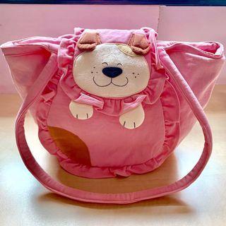 Pet Shop 100% Cotton Pup Half Moon Shaped Zipped Pink Shoulder Bag