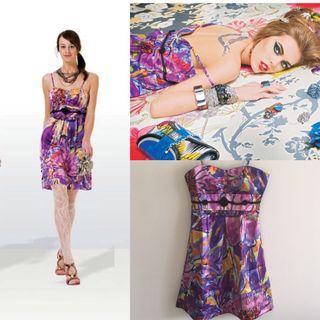 UK brand printed silk dress size S