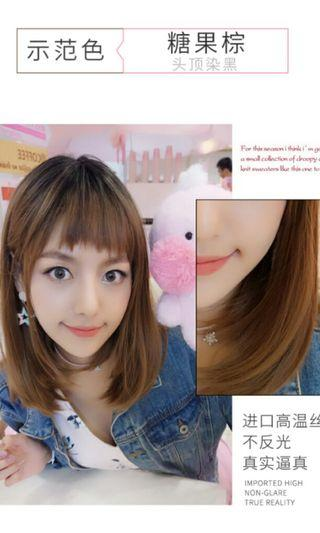 (NO INSTOCKS!)Preorder korean natural air bangs straight medium length full head wig*waiting time 15 days after payment is made *chat to buy to order