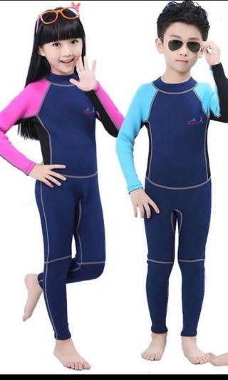Ready Stock 2mm Thick Superb Quality Kids Thermal Wetsuit Full Length Kids Swimwear