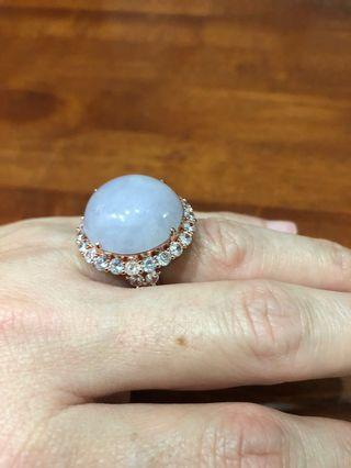 Natural Huge Marma Lavender Jadeite Ring