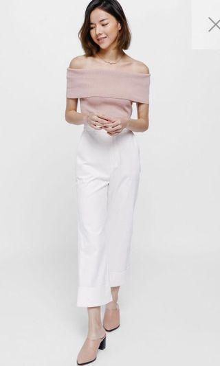 Lovebonito Taria Off Shoulder Knit Top in Blush - Size XS