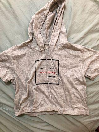 grey short sleeved hoodie