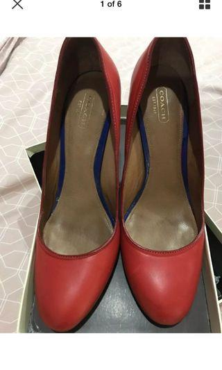 Coach red leather heels sz 41