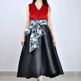 Long Red Dinner Dress with Floral Bow Belt