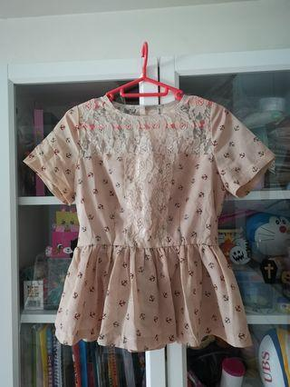 日本lace拼雪紡甜美上衣
