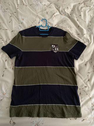 Authentic Green Navy Blue Stripe Armani Exchsnfe T Shirt