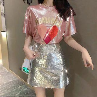 Dress silver shining dress for party