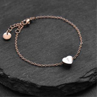 Personalised 18K Rose Gold/Stainless Steel Hand-stamped Initial Heart Charm Bracelet