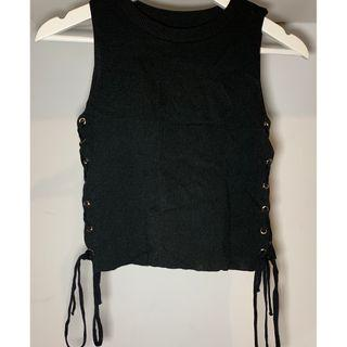 Fitted black knit laced sleveless top