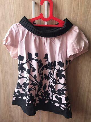 Atasan top pink black motif bunga premium