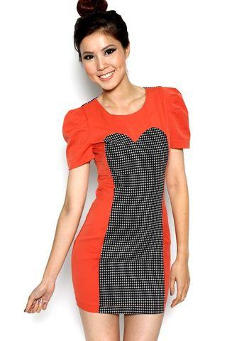 Clearance! MDS Sleeved Dress Tangerine S