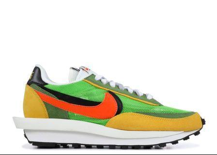 US 9.5, 11.5 Nike x sacai waffle green gusto