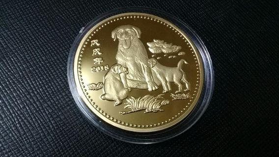 狗年金幣,狗年金章,金幣,金章,收藏錢幣,錢幣,紀念幣,幣~2018狗年鍍金章